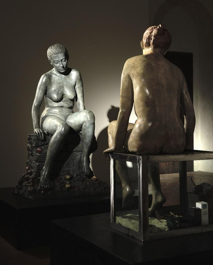 Eva contro Eva - Bronzo Policromo, h 121 cm